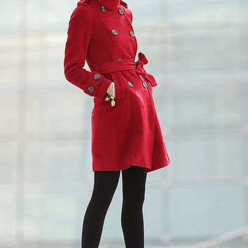 Red Coat Double Breasted Wool Military Slim Winter Coat -CF100