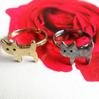 Cat Ring- 1Pc Antique Silver/Bronze Cute kitten Cat Animal Metal Steampunk Pet Ring -- Friendship Couple Lover Retro Finger Rings