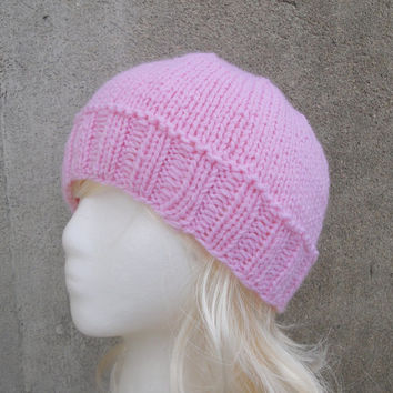 Pink Knit Hat, Girls, Tweens, Teens, Vegan Beanie Cap Toboggan Toque
