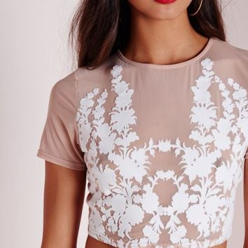 Missguided - Flock Detail Mesh Crop Top Nude