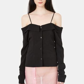 Pepa Salazar Off-the-Shoulder Button-Down Shirt - WOMEN - JUST IN - Pepa Salazar