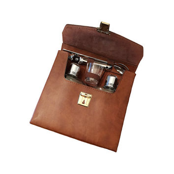 Vintage Flask Travel Set, Leather Case Portable Bar, Retro Barware