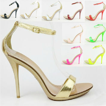 Neon Green Hot Pink Patent Leather 6 Inch Sexy Stiletto Sandals Platform Ultra High Heels Ankle Strap Pumps Plus Size 9 10 40 41
