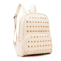Vintage Preppy Rivets Zippered Travelling Casual Book Bag Backpack