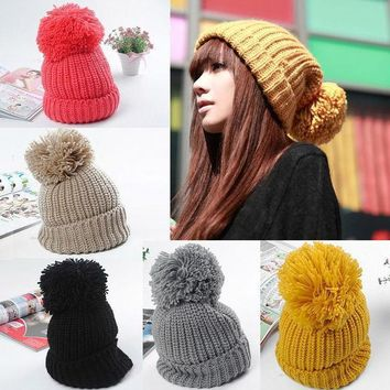 Women Winter Slouch Knit Cap Warm Oversized Cuffed Beanie Crochet Ski Bobble Hat  High Quality