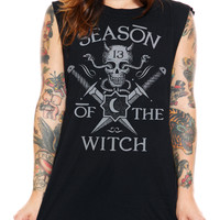 """Women's """"Witchy Woman"""" Muscle Tank by Social Decay (Black)"""
