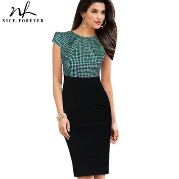 Nice-forever Print Stylish Elegant Casual Work Ruched Cap Sleeve Gather O-Neck Bodycon Knee Women Office Pencil Dress B316