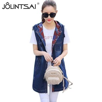 Plus Size Denim Vests 2017 Women Ripped Medium-Long Hooded Jacket Summer Waistcoat Fashion Sleeveless Coat Pockets Denim Jacket