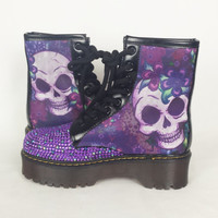 Purple skull boots , Custom Boots, Bling Boots, Boho Shoes, Hippy, skull trance Print Shoes, Fantasy psychodelic Shoes, Alternative shoes