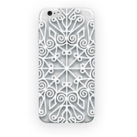 MFVN iPhone 4/iPhone 4S Protective Case-Baroque Retro Court Lace Pattern Texture Case-Ethnic Tribal Hard Plastic Clear Case Silicone Skin Cover