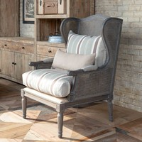 Cane Wingback Lounge Chair with Brown Linen Stripe Cushion