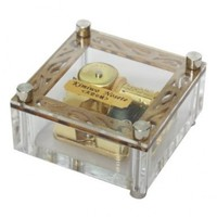 Laxury Acrylic Cubic Musical Box Windup Music Box with Melody Tag on Top 18 Notes Gold Movement, Different Melody Available (Canon)