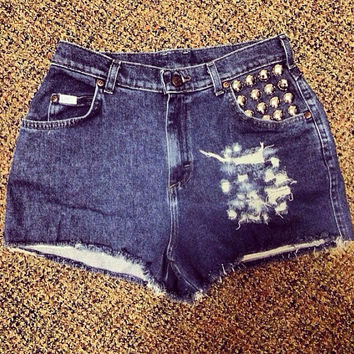 high-waisted denim shorts with studs
