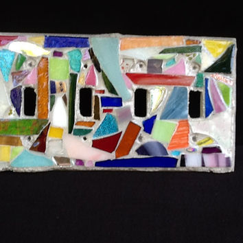 Quadruple Lightswitch Plate Cover Stained Glass Mosaic OOAK Handmade
