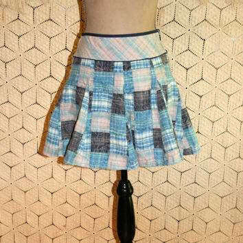 Blue Patchwork Skirt Plaid Mini Skirt Cotton Skirts Hippie Skirt Circle Skirt Twirl Skirt Teen Clothing Free People XS Small Womens Clothing
