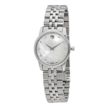 Movado Museum Mother of Pearl Diamond Dial Stainless Steel Ladies Watch 0606612