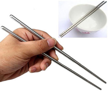 New 1Pair Chinese Stylish Non-slip Design Chop Sticks Stainless Steel Chopsticks = 1706106436