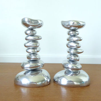Two large Michael Aram River Rock candleholders, 7.5 inches