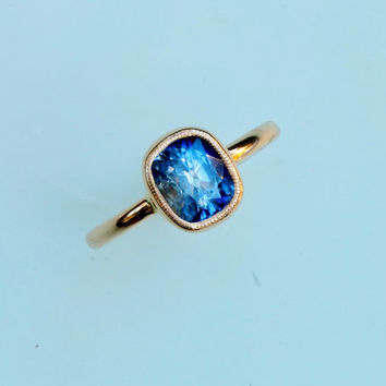 Cushion Blue Sapphire 14k Gold Solitaire Bezel Set with Milgrain Rim Gemstone Engagement Ring Weddings Anniversary