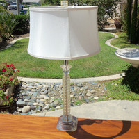 Lucite Table Lamp -Works- Lighting White Living Room Study Mid Century Modern Furniture Vintage Painted Home Decor