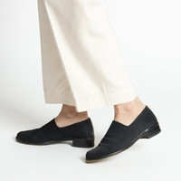 Vintage 90s Minimal Black Glove Shoes with Short Chunky Heel | 8