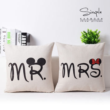 Love Pillow Cover, Bow Mickey Mouse Throw Pillow