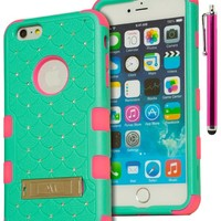 "iPhone 6 Plus, 5.5"" Case, Bastex Heavy Duty Hybrid Kickstand Case - Soft Pink Silicone Cover with Teal Diamond Bling Kickstand Case for Apple iPhone 6 Pus, 5.5"" [Includes a Stylus]"