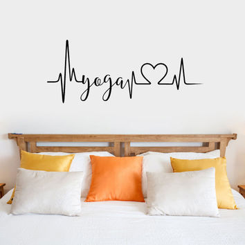 Yoga Heartbeat Vinyl Wall Words Decal Sticker Graphic