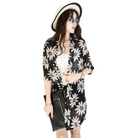 Women Floral Print Kimono Cardigan Chiffon Shirt Blouse Shawl Tops Beach Cover up