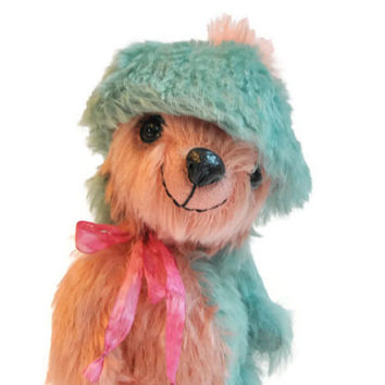 Artist teddy bear - collectible OOAK bear - mint rose mohair bear Little Minty Cap