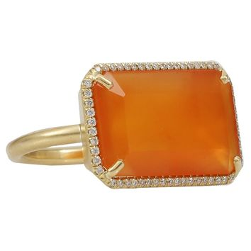 Irene Neuwirth Emerald Cut Carnelian Ring