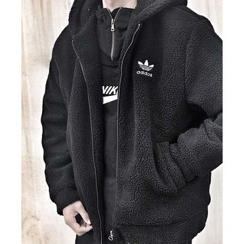 ADIDAS winter new men's classic logo high quality hooded sweater Black