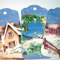Winter Scene Christmas Gift Tags Set of 6 Homes In The Snow