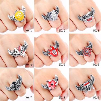 Cool Attack on Titan ANIME COSPLAY RING Metal One Piece  NARUTO Fairy Tail BLEACH Ring Brooches PVC Action Figure Cosplay Toys AT_90_11