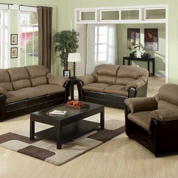 3 pc Connell two tone saddle premium soft microfiber fabric and Espresso bycast vinyl upholstered sofa, love seat and chair with padded arms