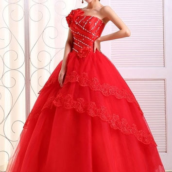 Red Wedding Dress Prom Dress Ball Gown Bridal Gown Floor-Length Organza Bridal Dress With Flowers WE394 = 1956826948
