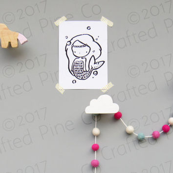 unicorn wall hook - girls wooden hooks - modern kids room decor - wall hanger