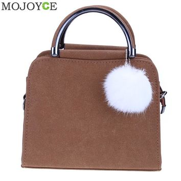 Leather Women Shoulder Bag with Plush Ball Handle Shoulder Bags Ladies Handbag Fashion Women Messenger Bag Popular Small Bags
