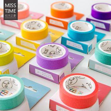 24 Style Creative Solid Color Japanese Decorative Adhesive Tape Washi Tape DIY Scrapbooking Masking Tape School Office Supply