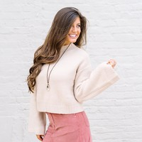 Beige Wide Sleeve Sweater - Thirty One Boutique