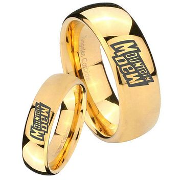 His Her Glossy Dome Mountain Dew 14K Gold IP Tungsten Wedding Rings Set