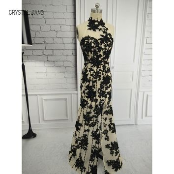 CRYSTAL JIANG 2017 Elegant Beading Split Evening Dresses Rami Salamoun Appliqued High Neck Mermaid Sequins Long Prom Dress