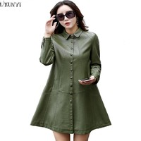 LXUNYI Single Breasted Leather Coats Ladies 2017 Autumn Plus Size Loose Thin Women's Long Trench Coat Faux Leather jackets Women