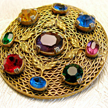 Gold Filigree Round Brooch, Czech Glass, Jewel Tones, Gilt Brass, Leaf Accents, Multi Color Rhinestones