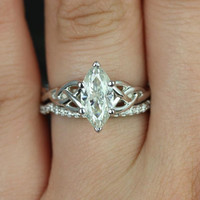 Mara 11x5.5mm 14kt White Gold Marquise FB Moissanite Celtic Knot Wedding Set  (Other Metals and Stone Options Available)