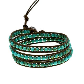2018 New Arrival Genuine Leather With Blue Turquoises Stone Wrap Bracelet For Jewelry Party Gift 21inch