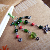Red and Green Holly Bookmark Christmas Holiday Book Thong Mistletoe