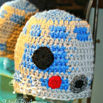 R2D2 Inspired Crochet Beanie, Droid Beanie, Robot Hat, Boys Crochet Space Hat,Star Wars Inspired Hat