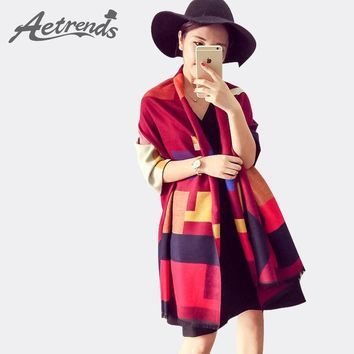 ONETOW [AETRENDS] Luxury Brand Scarf Women Plaid Cashmere Scarves Cape Pashmina Z-1661