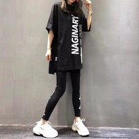 """Boy London"" Women Loose Casual Letter Eagle Pattern Print Short Sleeve Medium Long Section T-shirt Leggings Trousers Set Two-Piece Sportswear"